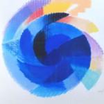 Affordable Art Fair: Galerie Pfanne-Dreesen, Heinz Mack, Blaue Rotation, 2004, Farbserigrafie auf Bütten