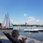 Tretboot fahren und paddeln auf der Alster, Foto: Anja Ende